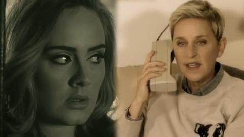 """Ellen Degeneres Spoofs Adele's """"Hello"""" Video!"""