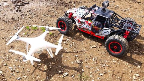 RC ADVENTURES - LOSi DBXL 1/5 scale 4x4 Buggy & DJi PHANTOM 4 Quad Rotor Flying Camera