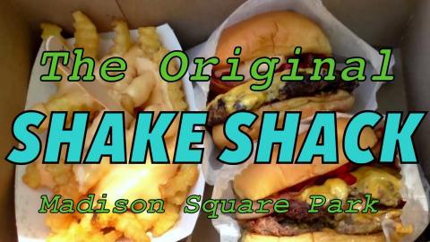 Eating burgers at the original Shake Shack - Madison Square Park, New York City