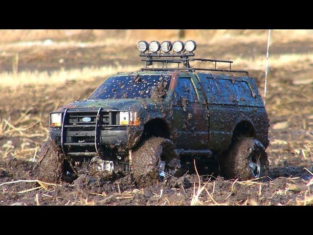 RC ADVENTURES - Mud Bath for a Ford F350 4x4 - Tamiya Highlift with MFC-02 Sound Kit