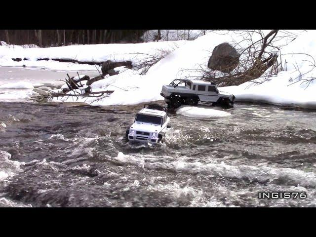 RC TRAIL 4X4 & 6X6 OUT IN THE STREAMTRAIL AFTER SNOWFALL IN LATE MARCH