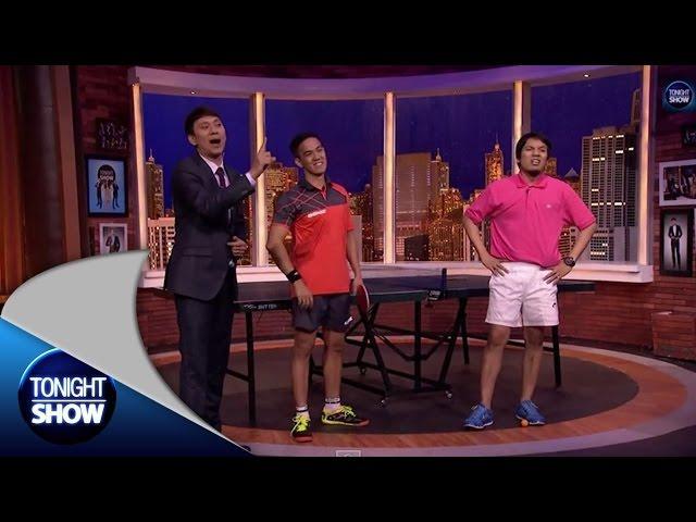 Battle pingpong Yon Mardiono dan Desta