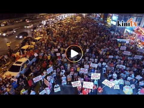 逾二千人挤爆行动党古晋讲座引塞车 (航拍)