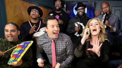 "Adele Does Classroom Instrument Version of ""Hello"" With Fallon & SMASHES Huge Record!"