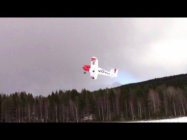RC FLIGHT TROJAN T28 FLYING IN STRONG WIND EASTER FUN