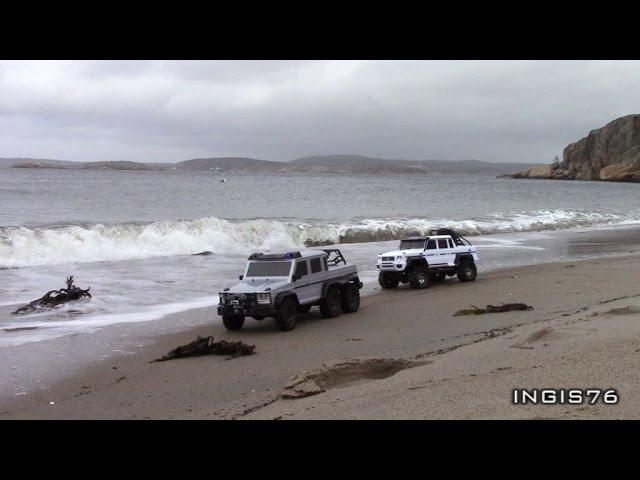 RC TRAIL 6X6 VS 4X4 WINTER BEACH FATHER & SON EXPEDITION FUN
