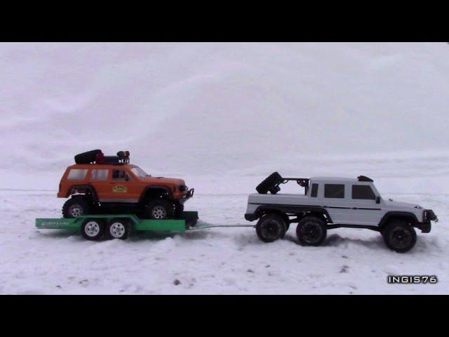 RC TRAIL 6X6 VS 4X4 WINTER EXPEDITION IN  THE SNOW  FATHER & SON FUN