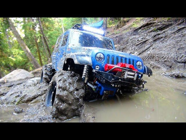 RC ADVENTURES - Sloppy Mud - Swamp Bogging in a 4x4 Jeep Wrangler Rubicon Radio Controlled Truck
